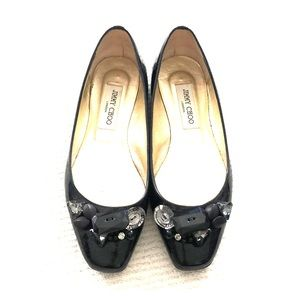 Jimmy Choo black patent flats